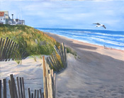 seascape painting of Normandy Beach Dunes by artist Donald Felber