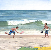 beach scene painting with boys playing paddle ball by artist Donald Felber