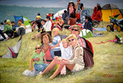 multiple portrait painting kite festival by Donald Felber