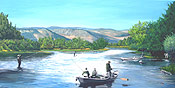 original waterscape painting of the Bighorn River by Donald Felber
