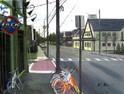 painting of Tierneys and a bike shop in Upper Montclair by Donald Felber
