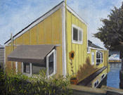 architectural painting of a boat house by artist Donald Felber