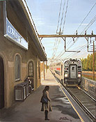 painting of the NJ Transit train station named Convent Station by artist Donald Felber