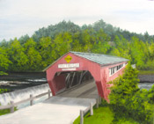 architectural painting of a covered bridge in Vermont by artist Donald Felber