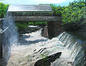 painting of covered bridge in Quechee VT by Donald Felber