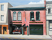realistic painting of Market St. Firehouse in Morristown