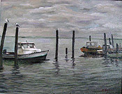 painting of fishing boats by artist Donald Felber