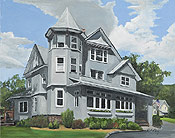 Oil painting of a home by artist Donald Felber