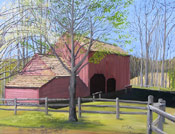 architectural painting of a barn by artist Donald Felber