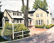 Oil painting of a home in Montclair by artist Donald Felber