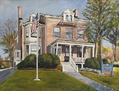 painting of the Morristown Club by artist Donald Felber