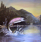 trout fishing painting by Montclair artist Donald Felber