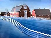 Red barn in winter, surrounded by snow