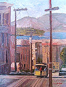 painting of San Francisco cable car by artist Donald Felber