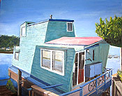 Oil painting of a boat house in Sausalito by artist Donald Felber
