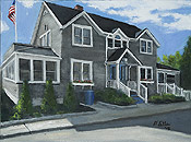 Oil painting of a home on the Jersey Shore by artist Donald Felber