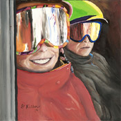 oil painting of two skiers