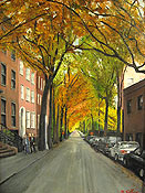painting of Brooklyn Heights by Montclair artist Donald Felber