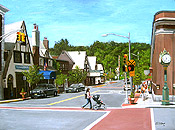 painting of Bellevue Avenue by Montclair artist Donald Felber