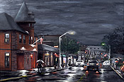painting of fire station and Valley Road by Montclair artist Donald Felber