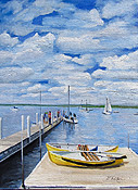 Oil painting of a Wisconsin lake scene by artist Donald Felber